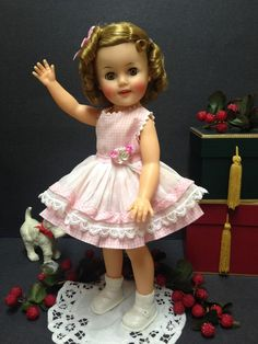 "VERY RARE 15"" Ideal Shirley Temple Doll In Her Pink Checked Junior Prom Dress!"