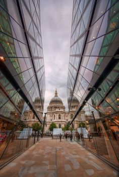 City of London. Highlighting the dome of St Paul's Cathedral.