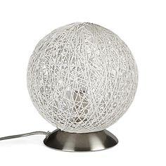 Lampe à poser ronde en métal et fils de coton blancs D20cm