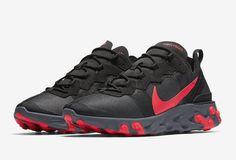 7bebf2d68108 Nike React Element 55 Color  Black Solar Red-Cool Grey Style Code