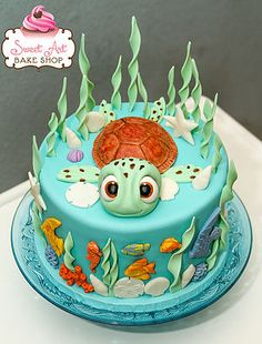 Amazing Image of Sweet At One Birthday Cake . Sweet At One Birthday Cake Sweet Art Bake Shop Kid Birthday Cakes Ocean Birthday Cakes, Boys 1st Birthday Cake, Ocean Cakes, Beach Cakes, Birthday Cakes For Women, Turtle Birthday Parties, Turtle Party, Diy Birthday, Finding Nemo Cake