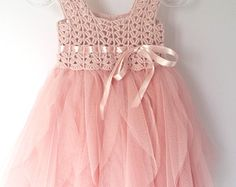 Light Gray Baby Tulle Dress with Empire Waist and di AylinkaShop
