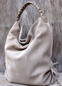 Slouchy Leather Hobo Bag in Taupe Stone Gray Suede by stacyleigh