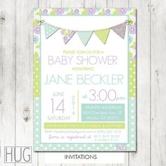 Set of 12 Personalized Baby Shower Invitations Bunting in Shades of Purple, Mint Green and Lime Green for Baby Girls Shower or Birthday by HeadsUpGirls, $18.00