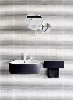 floating sink by Agape + white tile + black grout + round mirror Bathroom Toilets, Laundry In Bathroom, Mirror Bathroom, Washroom, Bad Inspiration, Bathroom Inspiration, Bathroom Ideas, Bathroom Inspo, Design Bathroom