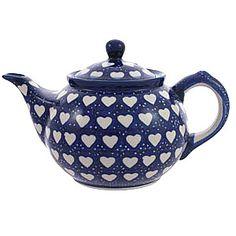 Φ Love Hearts Big Teapot with Strainer  from Polie Pottery. Φ