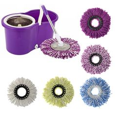 Replacement Mop Head 360 Spin Cleaning Mop Replacement Microfiber Fabric Round #Unbranded