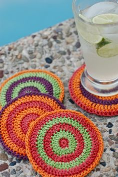 Summertime Cocktail Coasters By Kirsten Kapur - Free Crochet Pattern - (ravelry)