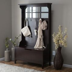 Entryway Hall Tree Coat Rack With Storage Bench Wood Espresso Finish