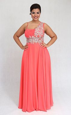 Vestidos Plus size moda 2020 Plus Size Prom, Plus Size Girls, Plus Size Wedding, Coral Maxi Dresses, Plus Size Dresses, Plus Size Outfits, Plus Size Evening Gown, Evening Dresses, Formal Dresses