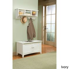 Wood Entryway Hall Tree Coat Rack Bench Shutter Door