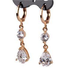 Mode à Long Eardrop 18 K plaqué or boucles d'oreilles blanc zircon cristal Dangle boucles d'oreilles pour les femmes haute qualité bijoux E139 dans Pendants d'oreilles de Bijoux sur AliExpress.com | Alibaba Group