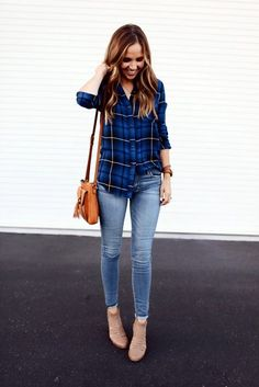 <3 Simple is Best <3 45 Fab Plaid Shirt Outfits Ideas that work Every Time | Plaid Shirt Outfits Ideas | Shirt Outfit Ideas | Fenzyme.Com