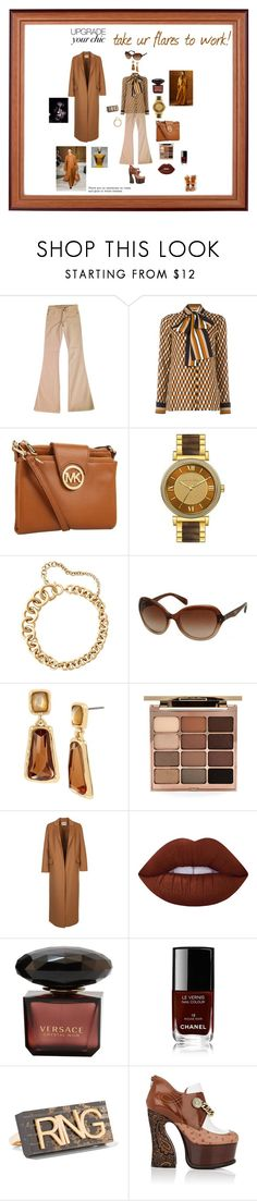 """""""Take your flares to work"""" by giagiagia ❤ liked on Polyvore featuring Alice + Olivia, Michael Kors, Prada, Robert Lee Morris, Stila, Lime Crime, Chanel, See by Chloé, MM6 Maison Margiela and Maison Margiela"""