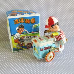 Vintage Wind Up Ice Cream Vendor Tin Toy by 5and10vintage on Etsy