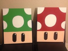 I painted the mushrooms from the Super Mario games for my sister's video game room. I painted the mu Easy Canvas Art, Simple Canvas Paintings, Small Canvas Art, Mini Canvas Art, Diy Canvas, Disney Canvas Art, Canvas Board, Video Game Bedroom, Video Game Rooms