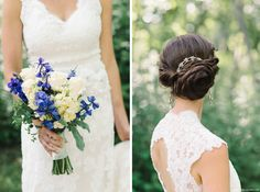 Lace wedding gown and summer bouquet. Wedding day updo | New Jersey Wedding Photographer by Michelle Lange Photography