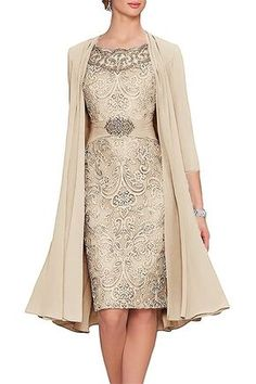 Women's Tea Length Mother of The Bride Dresses Two Pieces with Jacket - fashion - abendkleid Mother Of The Bride Dresses Long, Mother Of Bride Outfits, Mothers Dresses, Mother Of The Bride Fashion, Evening Party Gowns, Evening Dresses, Mom Dress, Lace Dress, Vestidos Chiffon