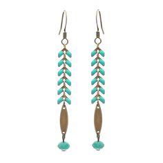 Perles enmétal, perles et cabochons en verre,chaînette épi.support de boucles d'oreilles