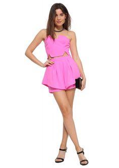 Clarissa Cut Crop Top in Pink | Necessary Clothing