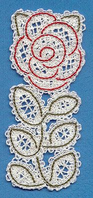 Rose Bookmark (Battenburg Lace) || Machine Embroidery Designs at Embroidery Library! -