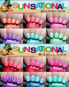 """China Glaze 2013 summer polishes - neon pastel """"Sunsational"""" cremes and jellies - awesome!"""