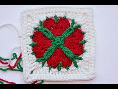"Advent Calendar * December 24 * Granny Square ""4 Hearts 4 You"" by Lila. ❤CQ #crochet #hearts #valentines    http://www.pinterest.com/CoronaQueen/crochet-hearts/"