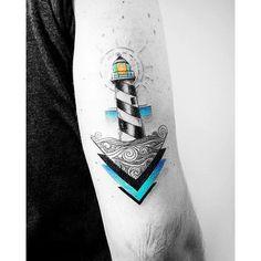 Lighthouse tattoo by Vitaly Kazantsev. #VitalyKazantsev #fineline #lighthouse