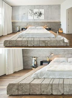 BEDROOM DESIGN IDEA - Place Your Bed On A Raised Platform // This bed sitting on platform made of reclaimed logs adds a rustic yet… Log Bed Frame, Furniture Design, Bedroom Furniture, Furniture Decor, Bedroom Decor, Garage Ideas, Garage Art, Bonus Rooms, Farmhouse Addition
