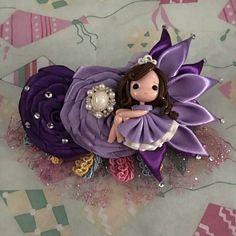 Buy Princess Sophia & Flowers Hairbow in Sydney,Australia. Bow Hair Clips, Hair Bows, Princess Sophia, Purple Flowers, Headbands, Clay, Diy Crafts, Christmas Ornaments, Holiday Decor