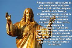 À l'heure même, Jésus exulta de joie sous l'action de l'Esprit Saint, et il dit : « Père, Seigneur du ciel et de la terre, je proclame ta louange : ce que tu as caché aux sages et aux savants, tu l'as révélé aux tout-petits. Oui, Père, tu l'as voulu ainsi dans ta bienveillance. Tout m'a été remis par mon Père. Personne ne connaît qui est le Fils, sinon le Père ; et personne ne connaît qui est le Père, sinon le Fils et celui à qui le Fils veut le révéler. » Lc 10, 21-22