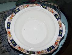 Vintage and RARE! (c.1930s) Royal Staffordshire | AJ Wilkinson Hampton handled vegetable serving bowl. Art deco Imari cobalt, rust, gold.