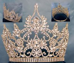 Continental Adjustable Gold Rhinestone Crown Tiara Magnificent Rhinestone Crown Tiara, made with the finest rhinestones and gold plated metal. Incorporated in this design are the stones in different sizes. Proudly made by our pageant jewelry specialis Royal Crowns, Royal Jewels, Tiaras And Crowns, Crown Jewels, Royal Tiaras, Gold Rhinestone, Rhinestone Jewelry, Gold Jewelry, Jewelry Shop