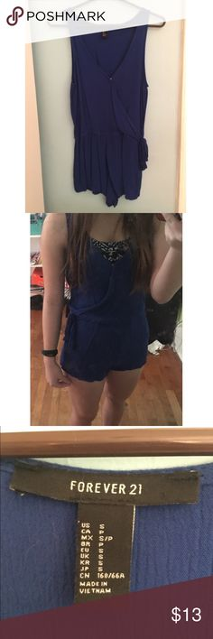 Blue Romper! From F21, worn once. Washed it then became too skimpy for me, but it's great for a swimsuit coverup! That's what I wore it for. Lightweight & comfy material! Forever 21 Other