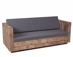 Landelijke Tuinbank 3-zits van gerecycled hout met 2 grijze kussens
