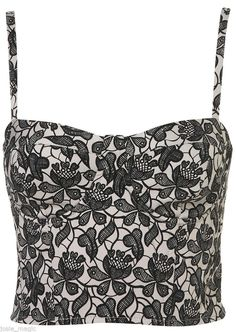 Topshop Shadow Lace Floral  Cup Corset Bralet 8 10 12 14 16 Black Grey New