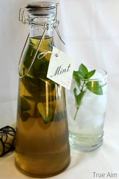 Fresh Mint Simple Syrup - For drinks, desserts, and candy recipes! Can't wait for the holidays!