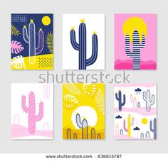 Cute creative card template with cactus. Hand Drawn illustration. Vector illustration in blue, pink and yellow colors.