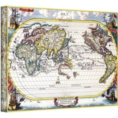Heinrich Shcerer Map Of The World Gallery-Wrapped Canvas, Size: 12 x 18, White