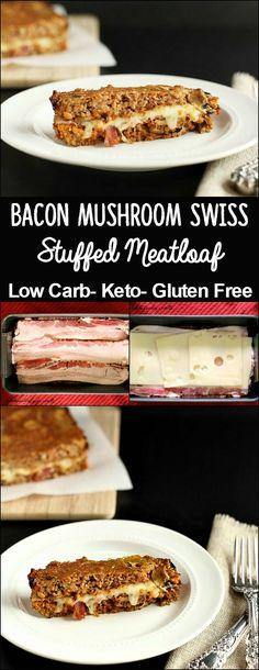 Bacon Mushroom Stuffed Turkey Meatloaf is a grain free, low carb meatloaf that is full of flavor, and stuffed with bacon mushroom goodness! Bacon Meatloaf, Low Carb Meatloaf, Turkey Meatloaf, Stuffed Meatloaf, Chicken Meatloaf, Primal Recipes, Sugar Free Recipes, Real Food Recipes, Cooking Recipes