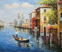 Enjoying Venice on Gondola  Canal Impressionism Oil Painting  20 x 24 inches