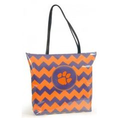Clemson Tigers Chevron Print Shopper Tote, buy it online at www.TotallyCollegiate.com.