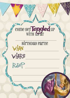 Free tangled birthday invite and water bottle labels