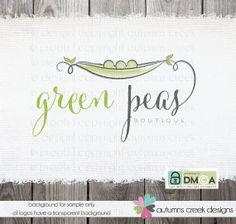 Premade Logo  Exclusive hand drawn pea pod peas by autumnscreek, $85.00