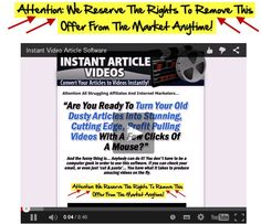 Instant Article Video – Turn your article into stunning profit pulling video