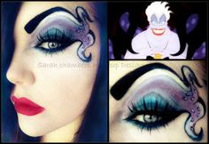 Disney Ursula Makeup-- this would be so cute for Halloween with a black mini dress! Ursula Makeup, Disney Eye Makeup, Disney Inspired Makeup, Evil Makeup, Witch Makeup, Makeup Lips, Glitter Makeup, Make Up Art, Eye Make Up