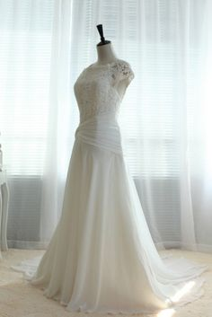 Strapless also  Vintage Lace Chiffon Wedding Dress Bridal Gown Cap by wonderxue, $360.00