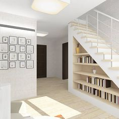 Beautiful, minimal, clean, white style staircase with bookshelf underneath. By: Design Rules Staircase Storage, Stair Storage, Staircase Design, Book Staircase, Floating Staircase, Small Space Interior Design, Interior Design Living Room, Under Stairs Storage Solutions, Space Under Stairs