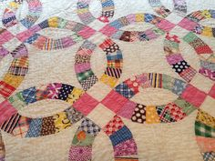 "Antique  Hand Pieced~Quilted Double Wedding Ring Quilt 84"" X 72"", eBay, fauxman2000"
