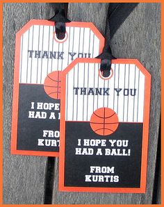 Basketball Thank You Tags